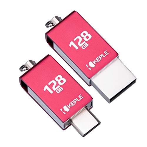 Dispositivo de Memoria Roja USB 128GB USB C 3.0 Alta Velocidad OTG Compatible con Xiaomi Mi A1, A2, A3 / Mi Mix 3, Mi Mix 2 / Mi 8, 8 Pro, 8 Lite/Redmi K20, K20 Pro | 128 GB Tipo C