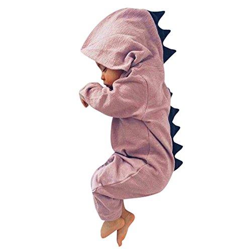 HWTOP Baby Junge Mädchen Jumpsuit Dinosaurier Kapuze Strampler Romper Outfits Bekleidungsset, Rosa, 0-3 Monate
