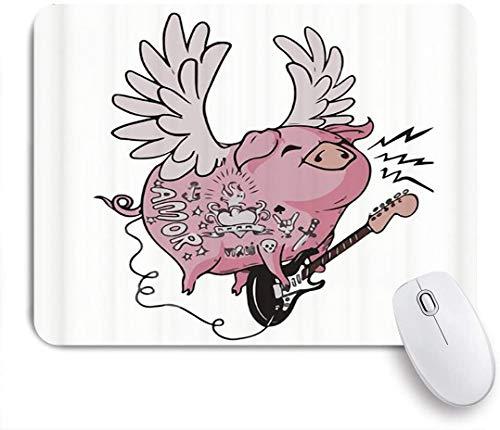 Dekoratives Gaming-Mauspad,Lustiges Schwein Niedliches Schweinchen mit Engelsflügeln Amor E-Gitarre Rockmusik Tattoo,Bürocomputer-Mausmatte mit rutschfester Gummibasis