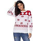 QingJiu Damen Weihnachten Sweater Rundhals Schneeflocken Druck Strickpullover Große Größe Langarm Pullover