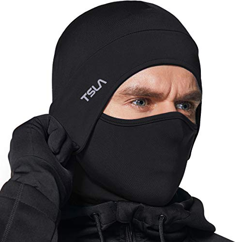 TSLA Men and Women Thermal Fleece Lined Skull Cap, Winter Ski Cycling Cap Under Helmet Liner, Cold Weather Running Beanie Hat, Unique(yzc51) - Black, One Size