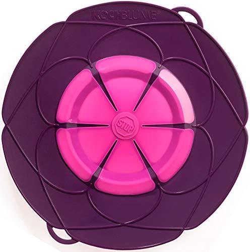 Kochblume vom Erfinder Armin Harecker XL 33 cm lila | Überkochschutz für Topfgrößen von Ø 20 bis 28 cm | Set mit Microfasertuch!