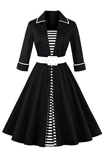 MisShow Damen 1950er Vintage Rockabilly Abendkleid Stehkragen Gestreift Cocktailkleid mit Langarm...