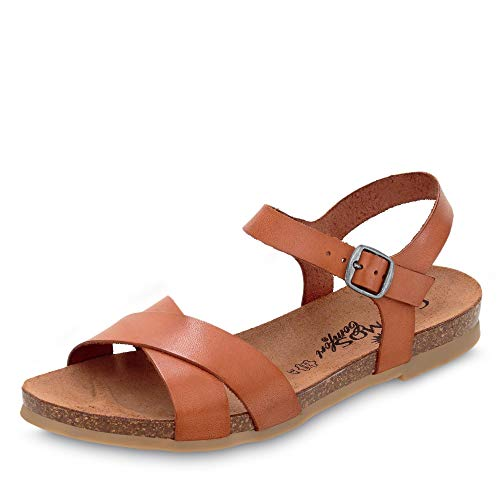 Cosmos 6106802 Damen Sandale aus Glattleder ungefüttert mit Lederkorkfußbett, Groesse 36, cognac