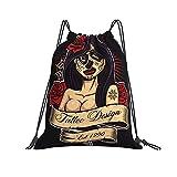 QUEMIN Bolso clásico con cordón Chicano Tattoo Girl Gym Sack Bag Mochila con cordón Mochila Deportiva de poliéster para Hombres y Mujeres