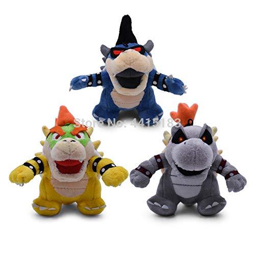 Dinosaurier plüschtier 3 Stück / Los Anime Super Mario Bros Q Ver 3D Landknochen Kuba Dragon Dunkler Bowser Koopa Peluche Puppenplüsch Weiches Stofftier Trockene Knochen