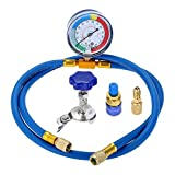 SURIEEN AC R134A Refrigerant Charging Hose, 59' Recharge Hose with Gauge, 1/4'' SAE Port for R12 R22, Removable Universal Can Tap Dispenser, Low Side Quick Couple, R410A Straight Swivel Adapter