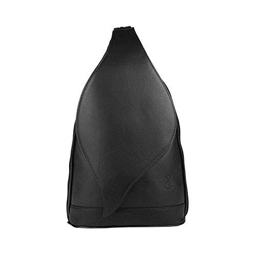 OBC Made in Italy Damen echt Leder Rucksack Minirucksack Lederrucksack Tasche Schultertasche Ledertasche Rucksack Handtasche Schwarz