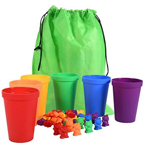 67 Piezas Juguetes para Niños Contar, Contar con los Osos de Colores coordinados Ordenación de Las Copas Montessori clasificación y conteo de Juguetes Educativos para Niños en Edad Preescolar