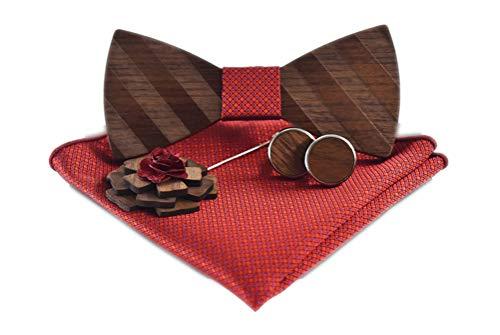Men Red Woven Handkerchief Wooden Cufflinks Brooch Neckwear Textured Wedding Patterned Bowties Set