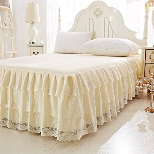 Spitze Bett Rock, Bett Volant Bestickt Tagesdecke Mit rüschen Hotel qualität Faltenresistent und ausbleichen beständig-beige 180x200cm/71x79inch