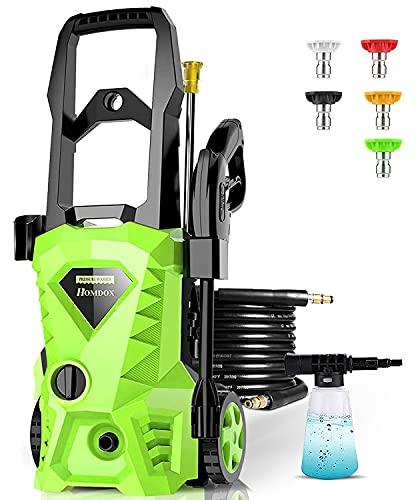 Homdox - Lavadora a presión eléctrica de 2500 PSI (1,6 GPM, 1600 W, alta presión, con 4 boquillas, cañón de espuma, ideal para limpiar hogares, coches, calzadas, patios...
