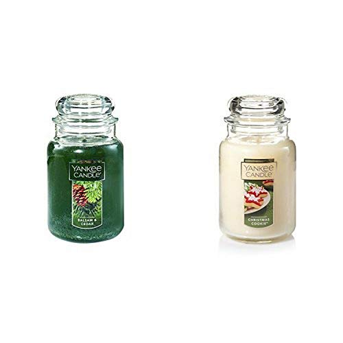 Yankee Candle Large Jar Candle, Balsam & Cedar & Yankee Candle Large Jar Candle, Christmas Cookie