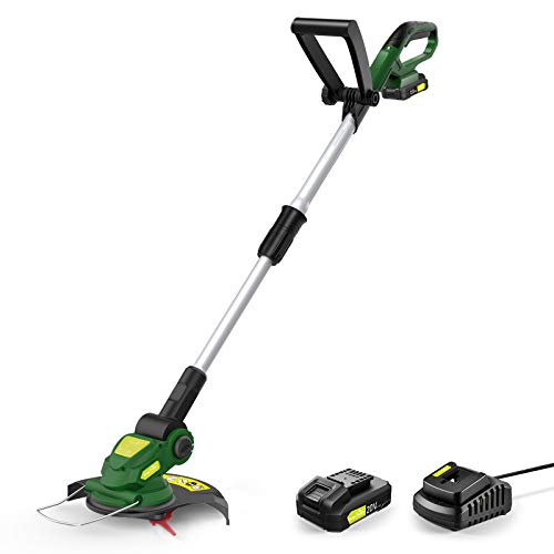 Cordless String Trimmer - Electric String Trimmer/Edger Battery Powered, 20V Weed Eater with Battery & Charger, Grass Trimmer for Multi-Angle Adjustment Cutting, Lightweight Lawn Trimmer for Mowing