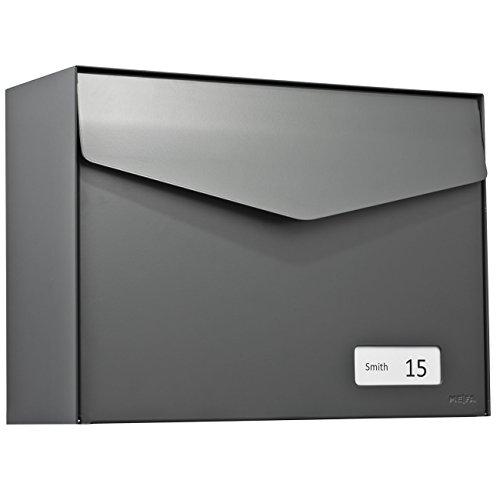 MEFA Briefkasten Letter (113) Basaltgrau semi mat Namenschild RAL 7012 Wandbriefkasten