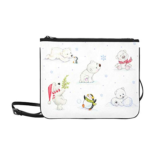 WYYWCY Set mit verschiedenen weißen Eisbären Hand gezeichnete Muster benutzerdefinierte hochwertige Nylon dünne Clutch Crossbody Tasche Umhängetasche