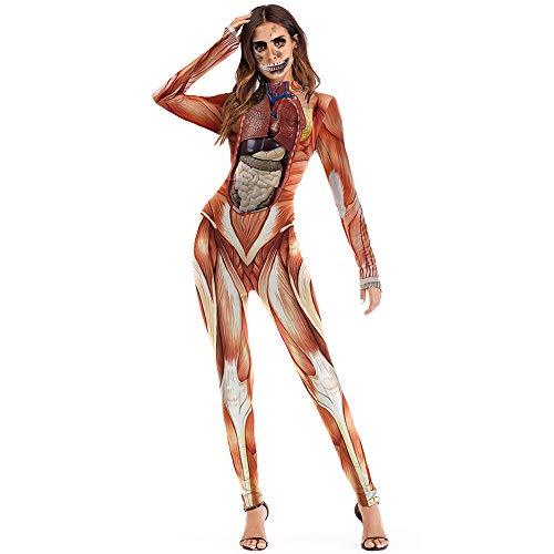 EraSpooky Damen Organ Kostüm Faschingskostüme Body Trikot Cosplay Halloween Party Karneval Fastnacht Kleid für Erwachsene