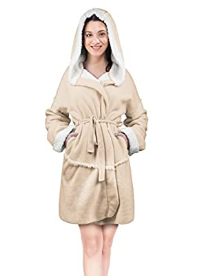 Women's Hooded Robes Soft Warm Short Plush Fleece Bathrobe Sherpa Lined Dressing Gown