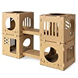 Navaris Modular Cardboard Cat House - DIY Corrugated Cardboard Configurable Play Tower Condo for Small Cats, Kittens, Rabbits - 4 Cubes with 2 Bridges