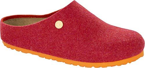 BIRKENSTOCK Zueco Kaprun 1012996 - Ovillo de lana (doble cara, talla 35-46), color fucsia, color Rojo, talla 38 EU Schmal