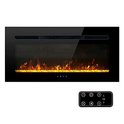 MFSTUDIO Electric Fireplace, 36 inch Fireplace Heater Recessed and Wall Mounted Low Noise with Touch Screen Remote Control and Timer, 1500W