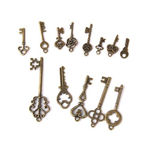 13pcs Antiguos Clave De Bronce Colgantes Hallazgos Collar Pendiente Del Encanto