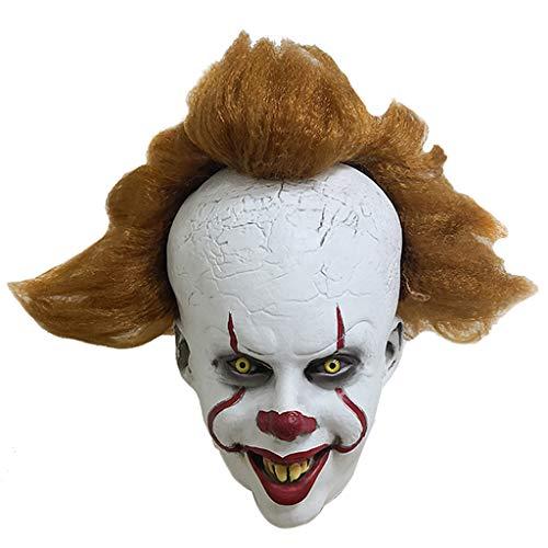 Vxhohdoxs Ganzgesichtsmaske aus Latex, Clown, Joker, Halloween, Cosplay, Kostüm Requisiten