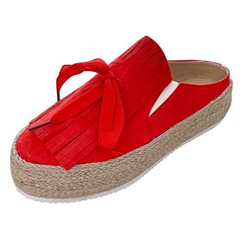 Luckycat Mocasines Mujer Alpargatas Plataforma Mujer Verano Loafers Esparto Cuña 5CM Zapatos Tela Espadrillas Planas Cómodos Zapatos Planos Mujer Brogue