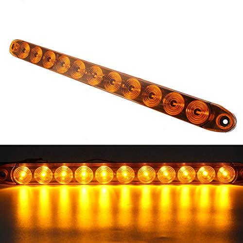 HEHEMM Bande lumineuse à 11 LED pour camion, remorque, tracteur, stop, clignotant, feu stop 12 V (jaune)