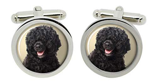 Gift Shop Portugiesisch Wasser Hund Manschettenknöpfe in Chrom Kiste