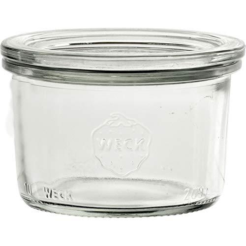 Weck Einkochgläser mit Glasdeckel - Füllmenge: 200 ml - praktische Sturzform - Deckel Ø: 80 mm - 12 Stück