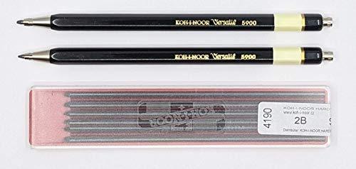 KOH-I-NOOR 5900 Fallbleistift Druckbleistift Metall 2er Set schwarz + 12 Stück Minen KOH-I-NOOR Fallminen Ø 2mm 2B