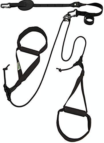 eaglefit Sling-Trainer Allround Elastic, Fitnessgerät, Schlingentrainer inkl. Umlenkrolle, Längenverstellung 90-310 cm, für Profis & Beginner, schwarz