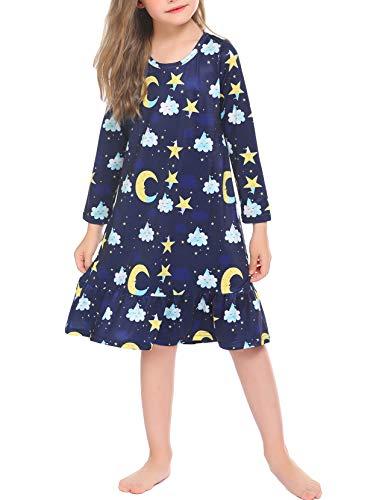 untlet Nachthemd Mädchen Langarm Rundkragen Nachtkleidfur 3-16 Jahre Herbst-WinterNightdress, Blau, 120