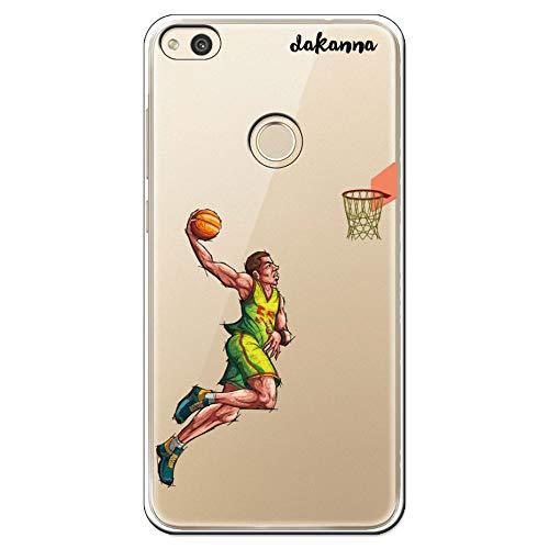 dakanna Funda para Huawei P8 Lite 2017 | Jugador de Baloncesto | Carcasa de Gel Silicona Flexible | Fondo Transparente