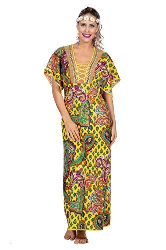 narrenkiste W4906-48 - Disfraz de hippie para mujer, talla 48, multicolor