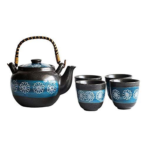 PU-KITCHEN Abendessen Blumenmuster Glasur japanischen Stil Teekanne mit Griff und Teetassen Set Service for 4 Erwachsene schön verpackt in Geschenkbox Excellent Home Decor Asian Tee-Set