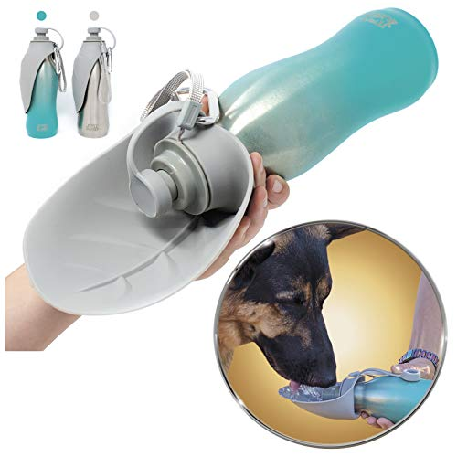 Grila Just4GSD Dog Water Bottle -Food Grade Stainless Steel & Silicon Bowl no BPA Great for Staying hydrated Hiking Walking Travel Dogs. Convenient Strap and Clip no Leak Wide Mouth Waterbottle