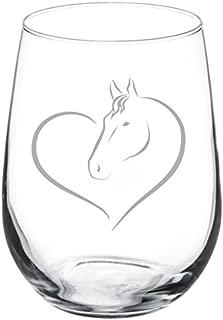 Wine Glass Goblet Heart Horse (17 oz Stemless)