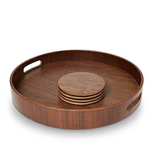 """BRANDWOOD Round Wooden Tray - Walnut Wood Coasters Included - 13.75"""" Inch Circle with Handles - Ideal for Ottoman Or Coffee Table - Farmhouse Home Accent Decor - Decorative Breakfast Serving Platter"""