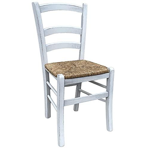 Sedia in legno modello venezia anticata bianca con seduta in paglia