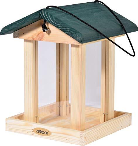 dobar 90040FSCe Futterspender Vogelfutterhaus aus Holz für Wildvögel, 21 x 21 x 28 cm, grün