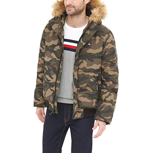 Tommy Hilfiger Men's Quilted Arctic Cloth Snorkel Bomber Jacket with Removable Hood (Standard and Big & Tall), Camouflage, 2X Big