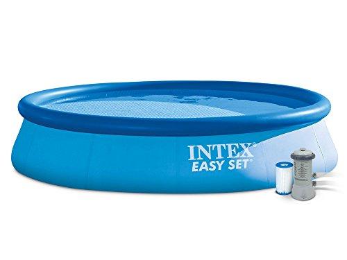 Intex 4in1 Set Gartenpool 396 x 84 cm Easy Set Quick Up Pool mit Filterpumpe 2271 Liter/Stunde und Ersatzfilter 7 Stück 28143