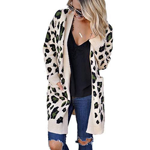FWJ-clothes Damen Strickjacke Pullover vorne offen Strickmantel mit Taschen Leopardenmuster Langarm Lose Damen Strickjacke Warmer Pullover Outwear Mäntel,Apricot,S
