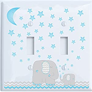 Blue Elephant Light Switch Plate and Outlet Covers with Blue Moon and Stars/Elephant Nursery Decor with Grey and Blue Chevrons.