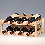 Nuokix Weinregale, Holz Haushaltsweinregal Klassische 8 Flasche Wein Halter Halterung aus Holz Weinflasche Storage Rack Bar Anzeigen-Regal Trinken Holde