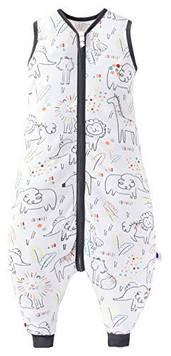 Chilsuessy Baby Schlafsack Sommer mit Füßen 0.5 Tog 100% Baumwolle Kinder Sommerschlafsack für Jungen und Mädchen, Glück Tiere, 90cm/Baby Höhe 100-110cm