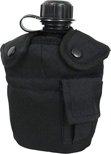 Mil-Tec - Cantimplora del ejército americano, con vaso y funda, negro - negro, talla única