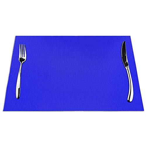 Uliykon Juego de 4 manteles individuales de mesa, color azul brillante, eléctrico, azul neón, azul, azul, azul, azul, azul, azul, azul